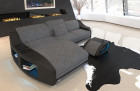 Modern upholstered couch Palm Beach with LED lighting in Hugo 5 - grey