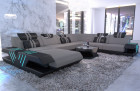 Fabric couch upholstered sofa Beverly Hills XXL microfibre light gray - Mineva 12