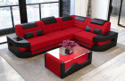 Small Luxury Sofa with LED lights - red Fabric Mineva 20