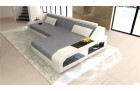 Design Luxury Couch with LED lights - grey structured Fabric Hugo 5
