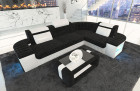 Corner Sofa Recamiere LED lights - Structured Fibre black Hugo 13