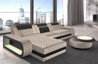 Corner sofa Berlin L Form with LED and USB - cream Sun Velvet 1001