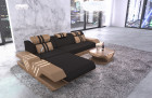 Microfibre fabric sofa modern ottoman and LED light - black Mineva 14
