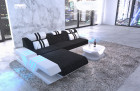 Modern fabric couch with ottoman and LED lighting - structured fabric dark gray Hugo 12
