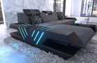Luxury sofa fabric couch ottoman and LED lighting - structured fabric gray Hugo 5