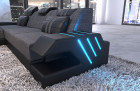 Corner sofa modern fabric couch with ottoman and LED light woven material- gray Hugo 5