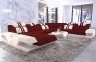 Modern sectional sofa Beverly Hills XXL illuminated microfibre dark red - Mineva 10