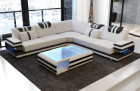 Luxury Sofa San Antonio with LED Lights and USB with stuctured fabric Hugo 1 - ivory