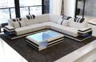 Design stof sofa San Antonio L formet cappuccino med mikrofiberstof Mineva 15 - grå