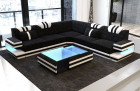 Design Sofa San Antonio with LED Lights and USB with structured fabric Hugo 13 dark grey