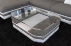 Fabric Coffee Table New York with glass plate lightgrey - Hugo 3