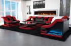 Luxury Sofa Set 3-2-1 New York in red-black