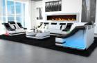 Designer Sofa Set 3-2-1 New York in white-black