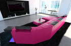 Luxury Sectional Sofa New York C Shape LED pink-black