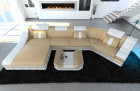 modern leather sofa c shape with LED Lights sandbeige-white