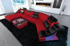 Fabric sectional sofa New York C Form LED red(Mineva 20)