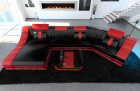 Luxury Sectional Sofa New York C Shape LED black-red