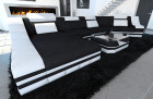 Fabric sectional sofa New York C Form LED black (Mineva 14)