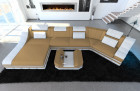 design sofa New York with LED beige (Mineva 4)