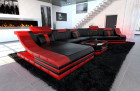 Luxury Sectional Sofa New York CL LED black-red