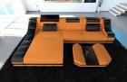 Fabric Design Sofa New York L with LED orange (Mineva 16)