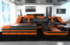 Cornersofa New York with LED Lights black-orange