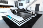 Cornersofa New York with LED Lights black-white