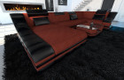 Modern Fabric Sofa New York with LED black-red(mineva 10)