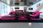 Sofa New York U Shape with LED Lights black-pink