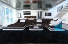 Fabric Design Sofa New York U with LED white-brown (hugo 10)