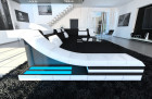 Fabric Design Sofa New York U with LED white-black (hugo 13)