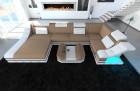Fabric Design Sofa New York U with LED white-beige (mineva 9)