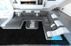 Design leather sofa New York grey- white