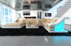 luxury sectional sofa with LED lightings sandbeige - white