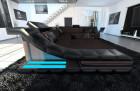 Luxury Fabric Sofa New York XL black-darkbrown ( hugo 10)