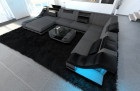 Modern Farbic Sofa New York with LED black-grey ( hugo 5)