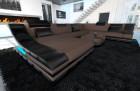 Luxury Fabric Sofa New York XL black-brown ( hugo 8)