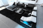 Design leather sofa New York black- white