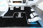Fabric Design Sofa New York XL with LED white-black (mineva 14)