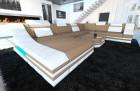 Fabric Design Sofa New York XL with LED white-lightbrown (mineva 6)