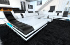 luxury sectional sofa with LED lightings white- black