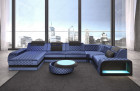 Sectional sofa Berlin U Velvet with LED Lighting - blue Sun Velvet 1027