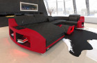 modern leather couch with LED lighting in black - red