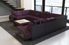 Fabric Design Sofa Hollywood U shape with LED lights with microfibre fabric Mineva 13 - lilac