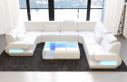 Big Sectional Couch San Antonio with USB Port in white