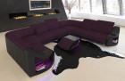 Sofa Couch Columbia upholstery fabric with shelves in microfibre Mineva 13 - purple