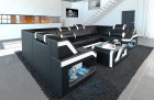 Luxury Sectional Sofa Manhattan U black and white with adjustable headrests
