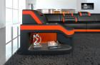 Elegant Sectional Sofa Padua U black-orange with LED Lights
