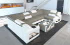 Upholstered sectional sofa Manhattan U with LED lighting in structured fabric Hugo 4 - warm grey