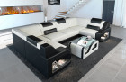 Fabric sectional sofa Manhattan U with LED lighting in structured fabric Hugo 1 - ivory